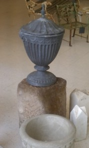 Lead urn on round base