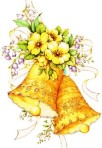 Yellow wedding bells with flowers