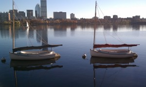 Boston Skyline with two boats